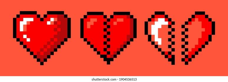 Set of pixel art heart icons. Vector 8-bit retro style illustration.