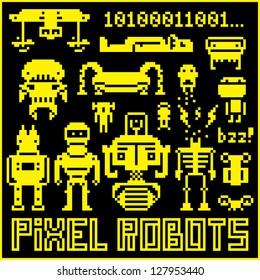 Set of pixel art robots, vector