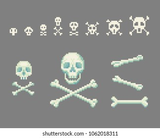 Set of pixel art skull with crossbones signs. Vector illustration