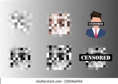 Set of Pixel censored signs. Black censor bar concept. Censorship rectangle. Vector illustration