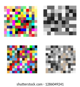 Set of Pixel censored signs. Black censor bar concept.  Vector illustration EPS10