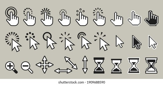 Set of pixel computer mouse cursor icons. Hand with finger and arrow pointer, direction symbol and magnify glass, hourglass or sandglass, zoom in or out element for website or app. Click symbol design