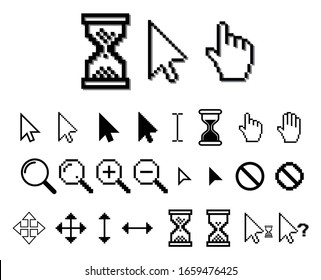 set of pixel cursors or pixel hourglass or pixel mouse cursor concept. eps 10 vector