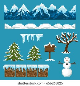 A set of pixel elements for creating a winter landscape in games and mobile applications.