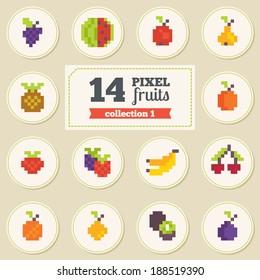 Set of pixel fruits