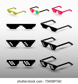 Set of pixel glasses isolated on transparent background. Thug life meme glasses. Mock up template ready for your design. Vector illustration.