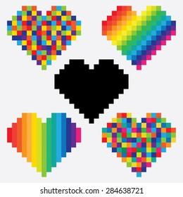 Set of pixel hearts