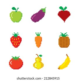 Set of pixel icons. Fruits and Vegetables.