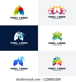 Set of Pixel Lungs logo designs concept vector, Lungs Technology logo template