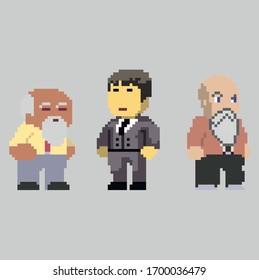 Set of pixel men characters in art style