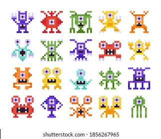Set of Pixel Monsters, Retro Design for Computer Eight Bit Arcade Games Isolated on White Background. Collection of Aliens and Strange Creatures with Funny Faces Cartoon Vector Illustration, Icons