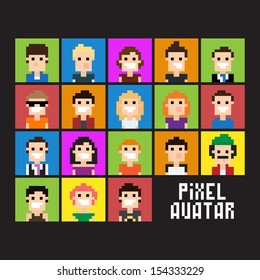 Set of pixel people avatar, vector illustration