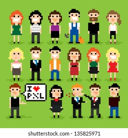 Set of pixel people icons, vector illustration