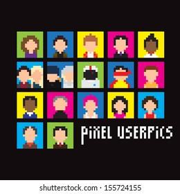 Set of pixel people userpics, vector illustration