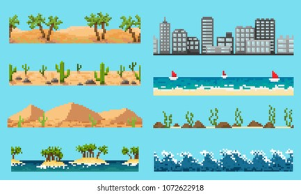 A set of pixel seamless element landscape: desert, ocean, city and other, for creating different landscapes in games and mobile applications.