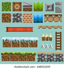 A set of pixel seamless elements for creating a landscape in games and mobile applications.