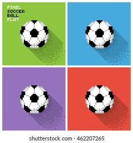 Set of pixel soccer balls in a flat design, pixelated illustration. - Stock vector