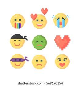 Set of pixeled emoticons for mood explanation. Vector illustration. Pixel art. Poster, banner, card, letter, sms, message, chart, background.