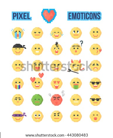 Set Pixeled Emoticons Mood Explanation Vector Stock Vector Royalty