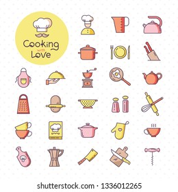 Set of pixel-perfect colorful kitchen icons, isolated on the white background. With lettering of cooking with love. Well tracked items of kitchen appliances.