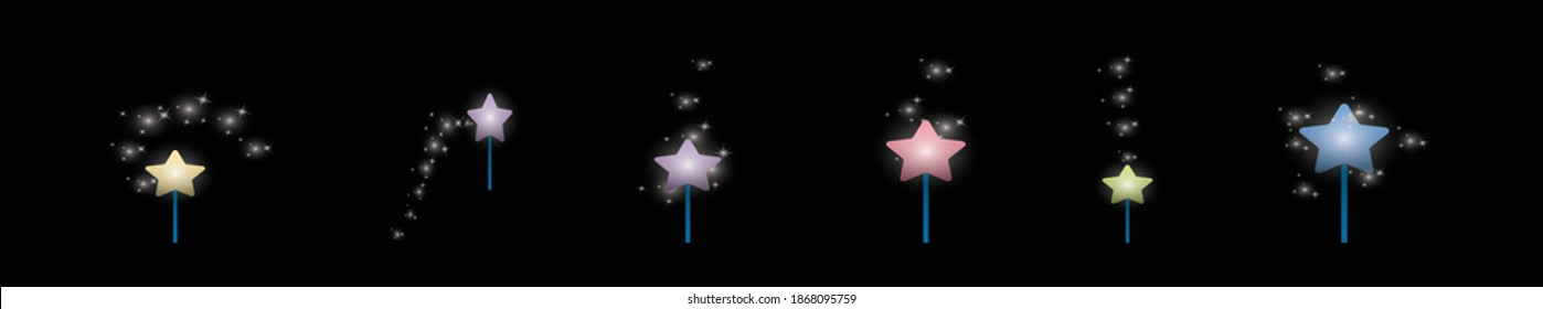 set of pixie dust cartoon icon design template with various models. modern vector illustration isolated on background