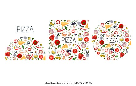 Set for pizza box. Traditional different ingredients for italian pizza: vegetables, olive oil, herbs, disc knife. Vector illustration Mediterranean food isolated on white background.