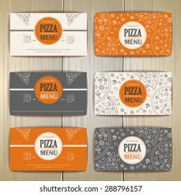 Set of pizza card design. Sketch illustration