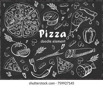 Set pizza doodle element on chalkboard background
