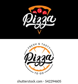 Set of pizza hand written lettering logo, label, badge. Emblem for fast food restaurant, pizzeria, cafe. Isolated on background. Vector illustration.