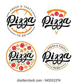 Set of pizza hand written lettering logo, label, badge. Emblem for fast food restaurant, pizzeria, cafe. Isolated on white background. Vector illustration.