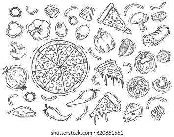 Set of pizza ingredients in doodle style isolated on white background
