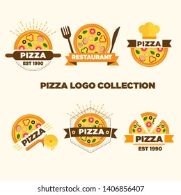 Set of pizza labels and badges. Vector illustration.