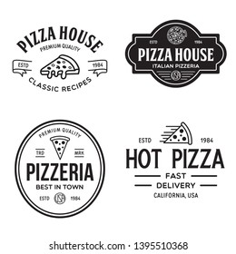 Set of pizza logo, badges, banners, emblems for fast food restaurant. Collection labels for menu design restaurant or pizzeria. Isolated vector illustration.
