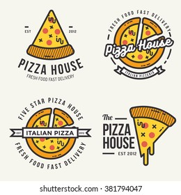 Set of  pizza logo, badges, banners, emblem for fast food restaurant. Vector illustration.