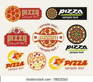 the set of pizza signs
