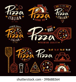 Set of pizzeria labels, badges, and design elements. Color print on black background
