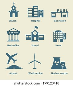 Set of place icon , church hospital gas station bank office school hotel airport wind turbine nuclear reactor.