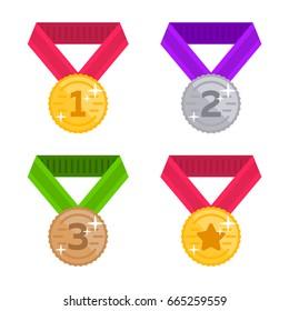 Set place medal vector flat illustration. Gold, silver, bronze, star award.