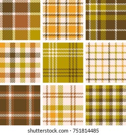 set of plaid seamless pattern for fall season