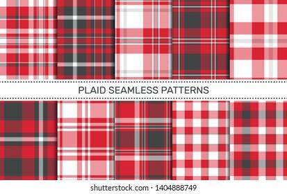 Set of plaid seamless patterns.