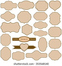 Set of plain frames vector illustration.