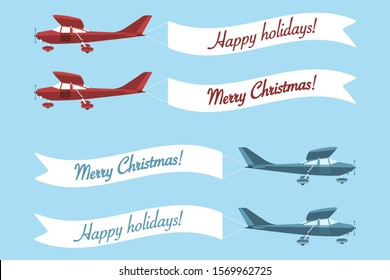 "Set of plane with banner ""Merry Christmas"" and ""Happy holidays!"". Vector illustration"
