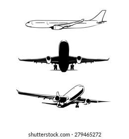 set plane black silhouettes