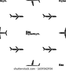 Set Plane, Formula race car and Plane on seamless pattern. Vector