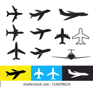 Set of Plane icon. Airplane silhouettes flat design. Vector illustration. Isolated on white background