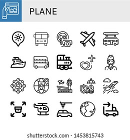 Set of plane icons such as Travel, Holidays, Bus, Room service, Airplane, Yatch, Train, Air hostess, Earth, Airport, Insurance, Plane, Sending, Helicopter, Automobile , plane