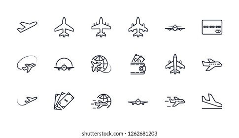 Set of Plane Vector Line icon. It contains symbols to aircraft, Credit Card, Wallet, Dollar, Money globe and more. Editable Stroke. 32x32 pixels