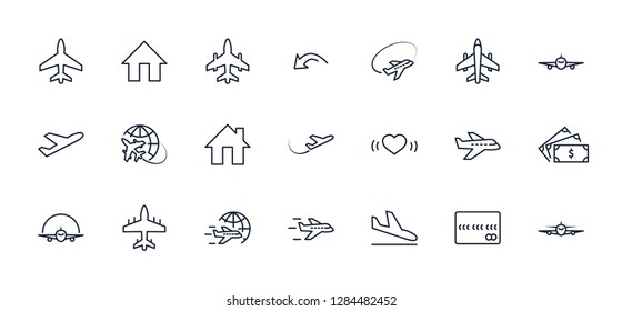 Set of plane vector line icon. It contains symbols to aircraft,