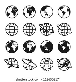 Set of planet Earth icons. Globe sign. World symbol. Air travel, transportation and delivery concept