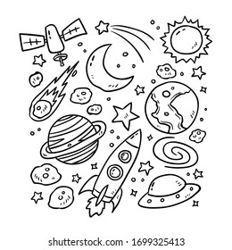 Set of planets icon, hand drawn vector illustration.